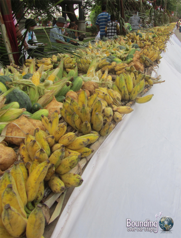 The elephant buffet at the Surin Elephant Roundup with lots of pineapples, bananas and sugar cane