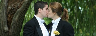 Ligeia and Mindy kiss at their wedding