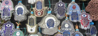 Hamsa ornaments in the Carmel Market in Tel Aviv
