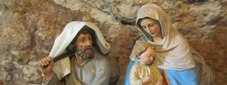 Statues of Baby Jesus, Mary and Joseph at the Milk Grotto in Bethlehem, Palestine