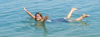 Ligeia floating in the Dead Sea